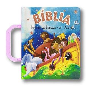 BÍBLIA PRIMEIROS PASSOS COM JESUS - COM ALÇA CAPA ROSA