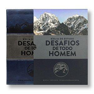 BÍBLIA DE ESTUDO DESAFIO DE TODO HOMEM CAPA LUXO AZUL / CINZA
