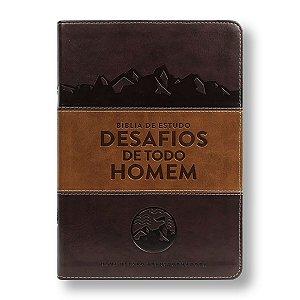 BÍBLIA DE ESTUDO DESAFIO DE TODO HOMEM CAPA LUXO MARROM