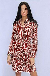 Vestido Animal Print com cinto no mesmo tecido