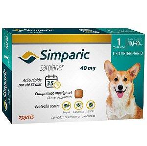 Antipulgas Simparic 40 mg para cães 10,1 a 20 kg