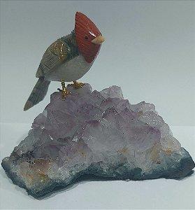 Escultura cardeal-do-topete-vermelho