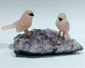 Escultura casal de pássaros