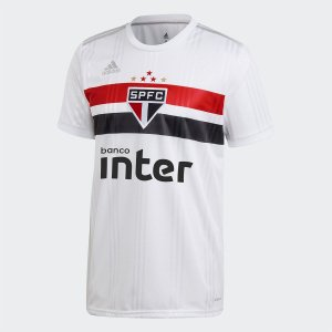Camisa São Paulo I 20/21 s/n° c/ Patrocínio Torcedor Adidas Masculina - Branco e Vermelho
