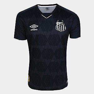 Camisa Santos III 19/20 s/n° - Torcedor Umbro Masculina - Preto e Prata