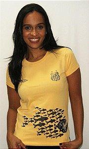 Camisa Santos Feminina Algodão Umbro Peixes Amarela