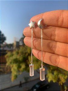 Brinco Galáxia - Brinde um pêndulo extra quartzo rosa