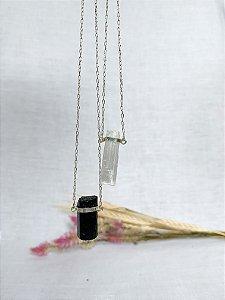Escapulário Proteção - Turmalina negra/Selenita