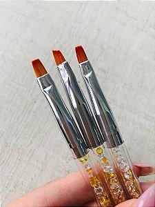 Kit Pinceis Glitter Amarelo Alongamento de Unhas
