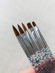 Kit Pinceis Beauty Artist Glitter Azul Para Alongamento Unhas