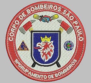 BRASÃO REDONDO 10° GRUPAMENTO DE BOMBEIRO BORDADO
