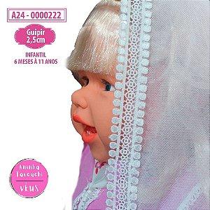 Véu infantil guipir 2,5cm