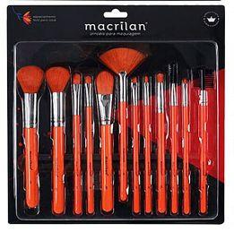 Kit Com 12 Pincéis Laranja Macrilan Para Maquiagem