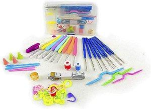 Kit 16  agulhas de croche e Acessorios e Estojo
