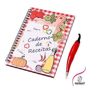 Caderno de Receitas + 1 Caneta Comidinha.