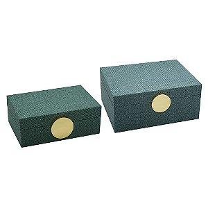 Conjunto de Porta Joias de madeira revestida com tecido aveludado