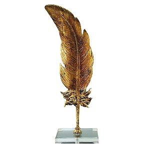 Pena Decorativa em Resina Dourada 15cm x 10cm x 38cm
