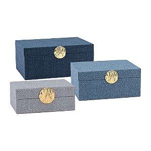 Conjunto de Porta Joias de madeira revestida com tecido aveludado 3 peças