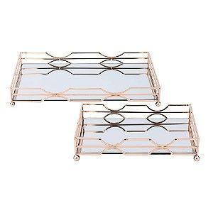 Conjunto de bandejas de espelho e metal rose gold 2 peças