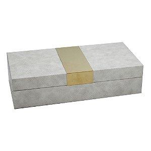 Porta Joias de madeira revestida com tecido estilo couro bege