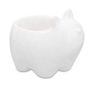 Cachepot Gato Branco em Ceramica
