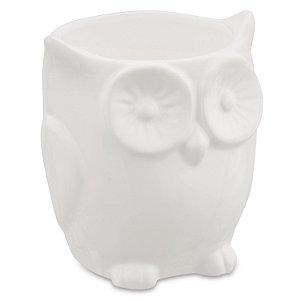 Cachepot Coruja Branca em ceramica