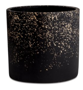 Cachepot Preto e Dourado em Cimento M