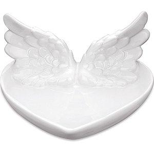 Prato Branco em ceramica com asas