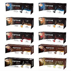 Kit 100 capsulas de café sortidas compatível Nespresso
