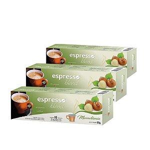 Kit 3 cxs c/10 cápsulas de café compatível Nespresso sabor Macadãmia
