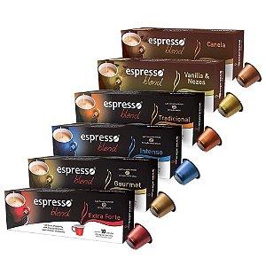 Kit 6 cxs c/10 Cápsulas de café compatível Nespresso Sortidos  em  6 sabores