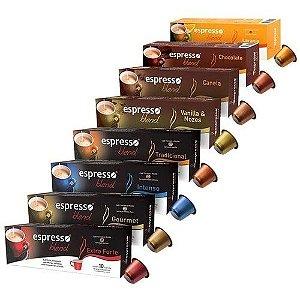 Kit 8 cxs c/10 cápsulas de café cada cx compatível Nespresso sortidas em 8 sabores