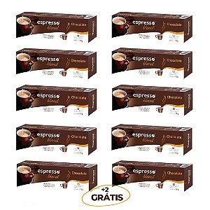 Kit 100 cápsulas de café aroma chocolate + 20 grátis compatível Nespresso