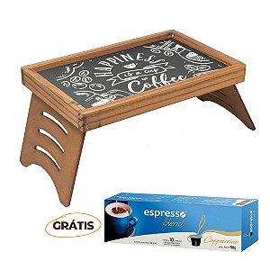 Mesa de Café  Rústica Giz Marrom + grátis 1 cx c/10 cápsulas de  Capuccino