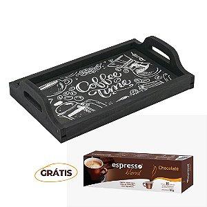 Bandeja Multiuso rústica Giz + grátis 1 cx c/10 cápsulas de café sabor chocolate