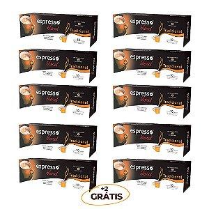 Kit 100 cápsulas de café aroma Tradicional + 20 grátis compatível Nespresso