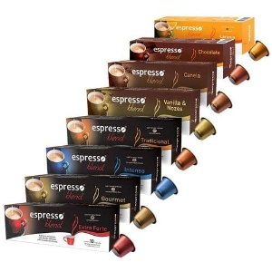 Kit 8 cxs sortidas em 8 sabores c/10 cápsulas de café cada compatível Nespresso