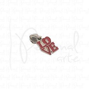 Puxador Love Vermelho c/ carrinho - Prata