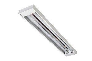Luminária Comercial Sem Aletas C/ Refletor em Alumínio Alto Rendimento de Sobrepor para Lâmpada Led T8 2x18W 20W