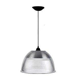 Luminária Prismática 12 Pol Pendente Plástico Preto E-27 - Claron