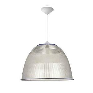 Luminária Prismática 22 Pol Pendente Plastico Branco E-27 - Claron