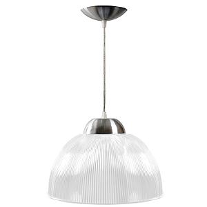 Luminária Prismática 12 Pol Pendente Branco Leitoso Luxo E-27 - Claron