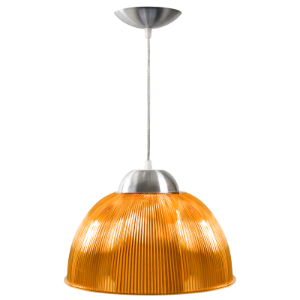Luminária Prismática 12 Pol Pendente Laranja Luxo E-27 - Claron