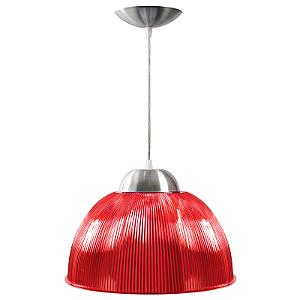 Luminária Prismática 12 Pol Pendente Vermelho Luxo E-27 - Claron