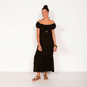 REF:. 6890  Vestido longo cropped em viscose rústica