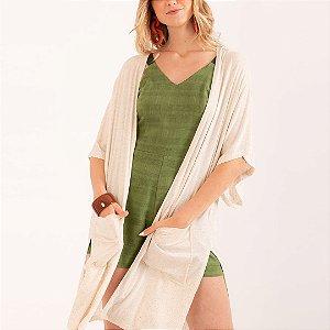 REF:. 7037  Kimono em malha tricot com linho