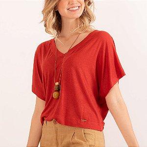 REF:. 7033  Blusa em malha tricot com linho