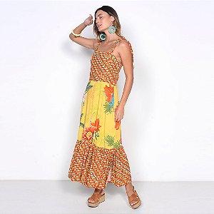 REF:. 7050 Vestido Midi Paraiso Amarelo
