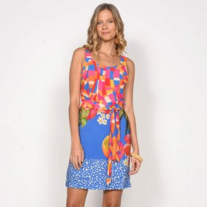 REF:. 7122 Vestido Curto Pincelada Tropical Azul