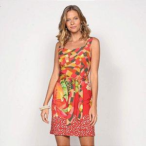 REF:. 7122 Vestido Curto Pincelada Tropical Vermelho